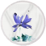 Purple Iris In The Greenery Round Beach Towel