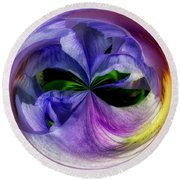 Purple Iris Orb Round Beach Towel