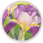 Purple Irises Round Beach Towel
