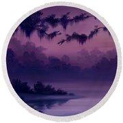 Purple Jungle Round Beach Towel