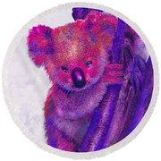 Purple Koala Round Beach Towel