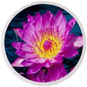 Purple Lily On The Water Round Beach Towel