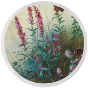 Purple Loosestrife And Watermind Round Beach Towel