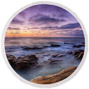 Purple Majesty No Mountain Round Beach Towel