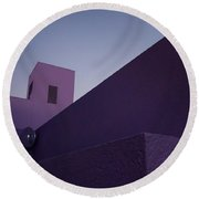 Purple Maze Round Beach Towel