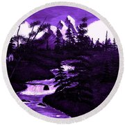 Purple Mountain Round Beach Towel
