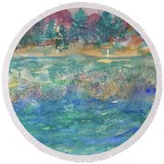 Purple Mountain Round Beach Towel