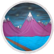 Purple Mountains Round Beach Towel by Robert Nickologianis