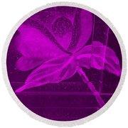 Purple Negative Wood Flower Round Beach Towel
