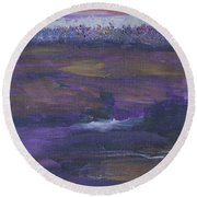 Purple Ocean Round Beach Towel