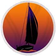 Purple On Orange Sailing Round Beach Towel