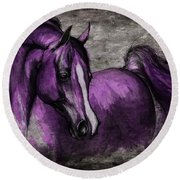 Purple One Round Beach Towel by Angel  Tarantella