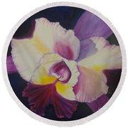 Purple Orchid Round Beach Towel