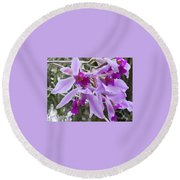 Purple Orchid Personality Round Beach Towel