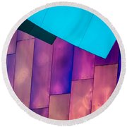 Purple Panels Round Beach Towel