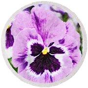 Purple Pansy Close Up - Digital Paint Round Beach Towel