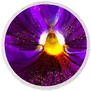 Purple Pansy Detail Round Beach Towel