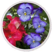 Purple Pansy Flowers By Line Gagne Round Beach Towel