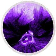 Purple Pansy Rising Round Beach Towel