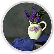 Purple Pardon Round Beach Towel by Diana Angstadt