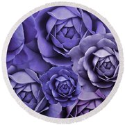 Purple Passion Rose Flower Abstract Round Beach Towel