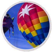Purple People Eater Rides The Wind Round Beach Towel