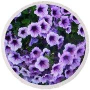 Purple Petunias Round Beach Towel