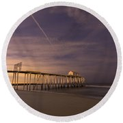 Purple Pier Round Beach Towel
