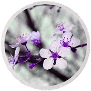 Purple Pink Blossoms Round Beach Towel