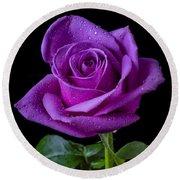 Purple Rose Round Beach Towel