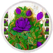 Purple Roses From The Garden 2 Round Beach Towel