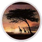 Purple Safari Sunset Round Beach Towel
