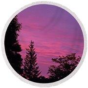 Purple Sky At Night Round Beach Towel