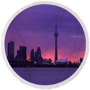 Purple Skyline Round Beach Towel