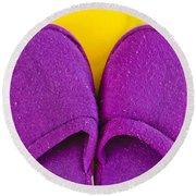 Purple Slippers Round Beach Towel by Tom Gowanlock