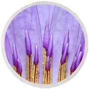 Purple Spires Round Beach Towel