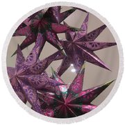 Purple Star Round Beach Towel
