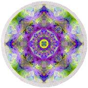 Purple Star Yantra Mandala Round Beach Towel
