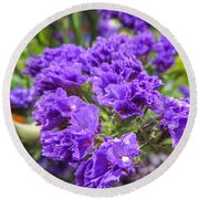 Purple Statice Flower Arrangement Round Beach Towel