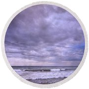 Purple Sunset At The Beach Round Beach Towel