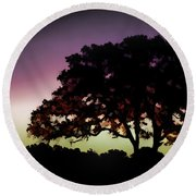 Purple Sunset Green Flash And Oak Tree Silhouette Round Beach Towel