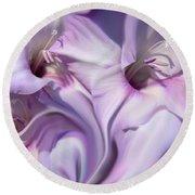 Purple Swirl Abstract Gladiolas  Round Beach Towel by Jennie Marie Schell