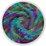Purple Swirl Ripples Round Beach Towel