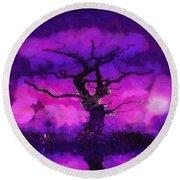 Purple Tree Of Life Round Beach Towel