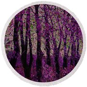 Purple Trees Round Beach Towel