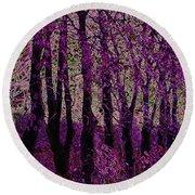 Purple Trees Round Beach Towel