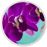 Purple Trio - Orchids Round Beach Towel