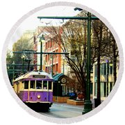 Purple Trolley Round Beach Towel