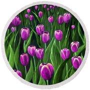 Purple Tulip Field Round Beach Towel