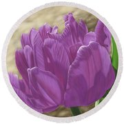 Purple Tulip Round Beach Towel